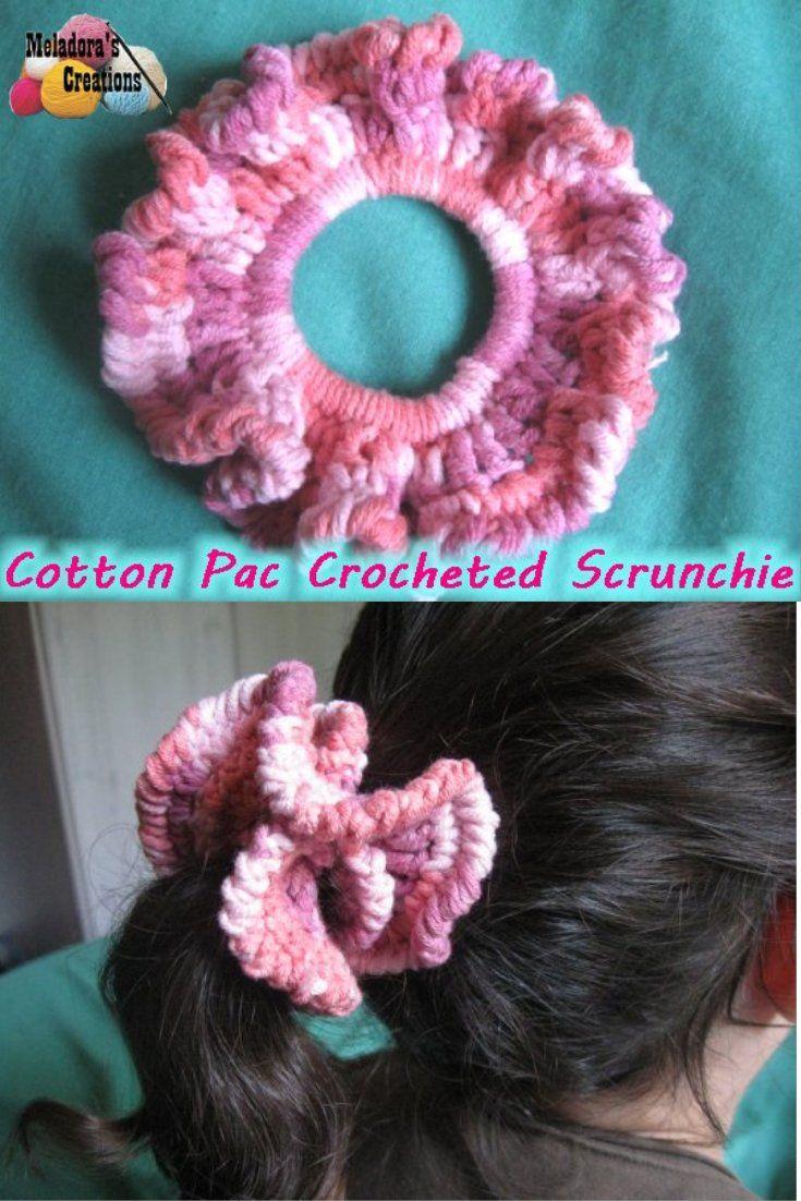 Cotton Pac Scrunchie - Free Crochet Pattern   Rubber bands, Free ...