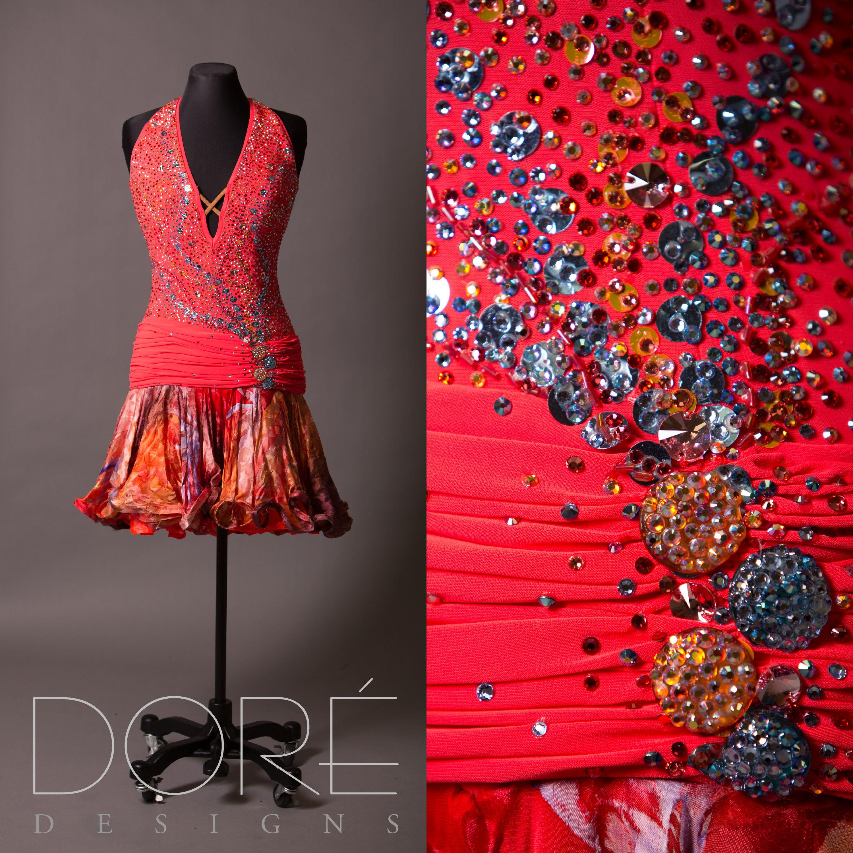 Fluorescent Red Halter Neck Latin w/ Ruched Waist & Printed Silk Skirt