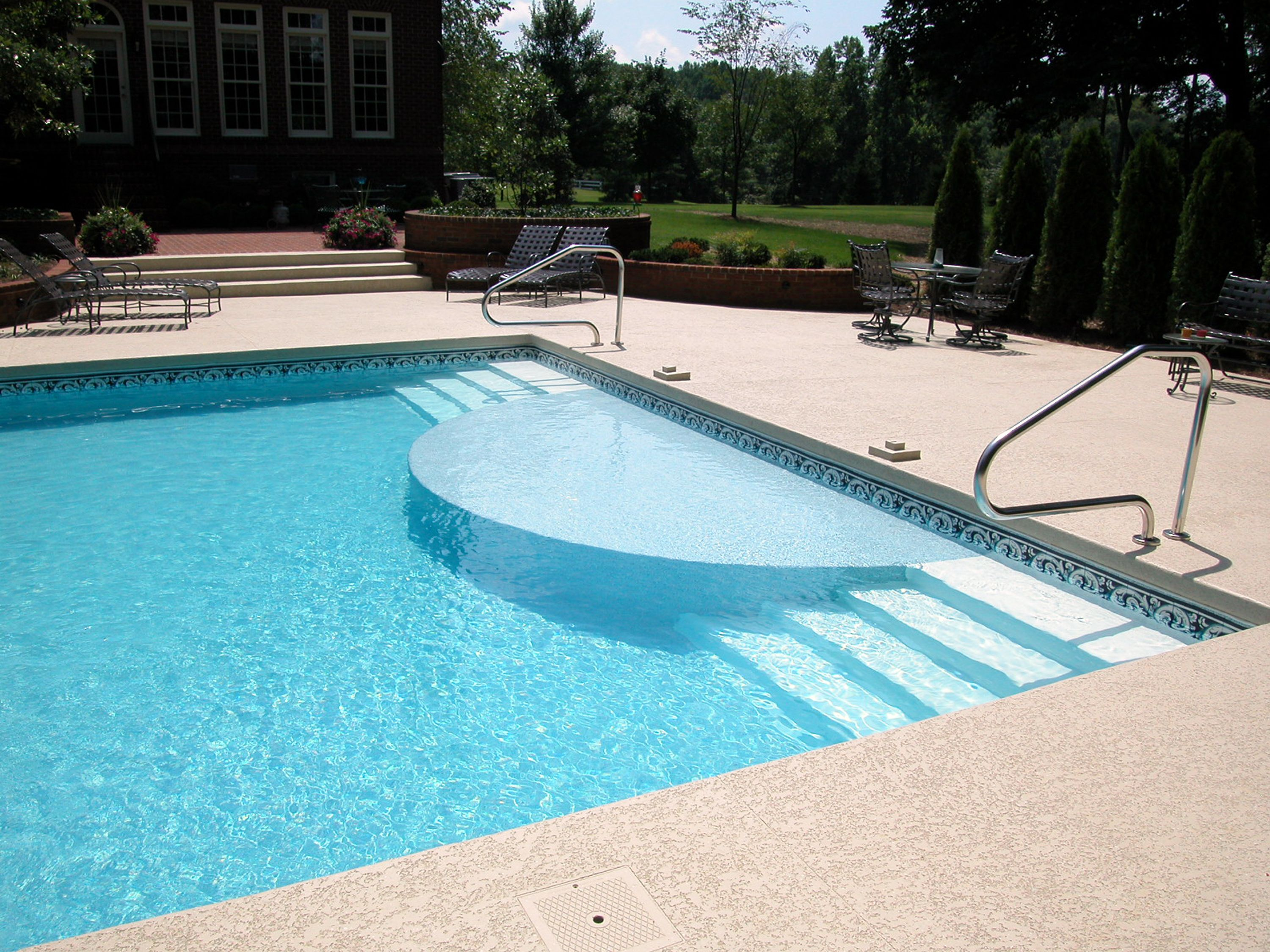 Clayton & Lambert vinyl liner pool with custom sundeck and steps ...
