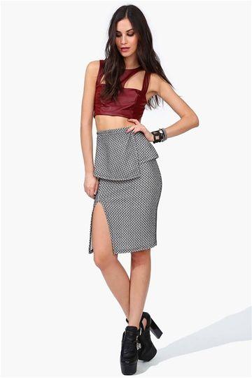 Sylvia Pencil Skirt in Black/White