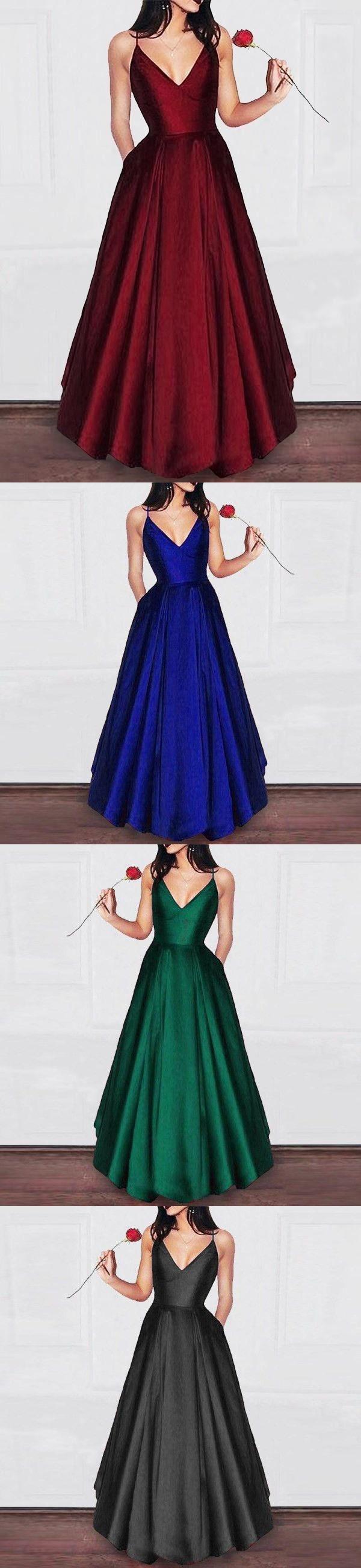 Amazing elegant a line dark red satin prom dress girls graduation