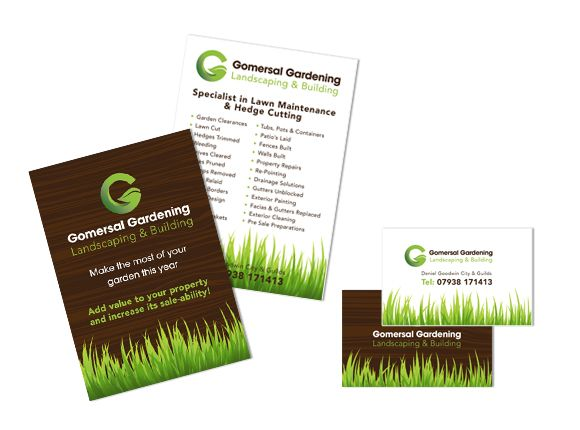 gomersal gardening flyers and business cards branding logo garden gardening landscaping - Garden Design Business Cards