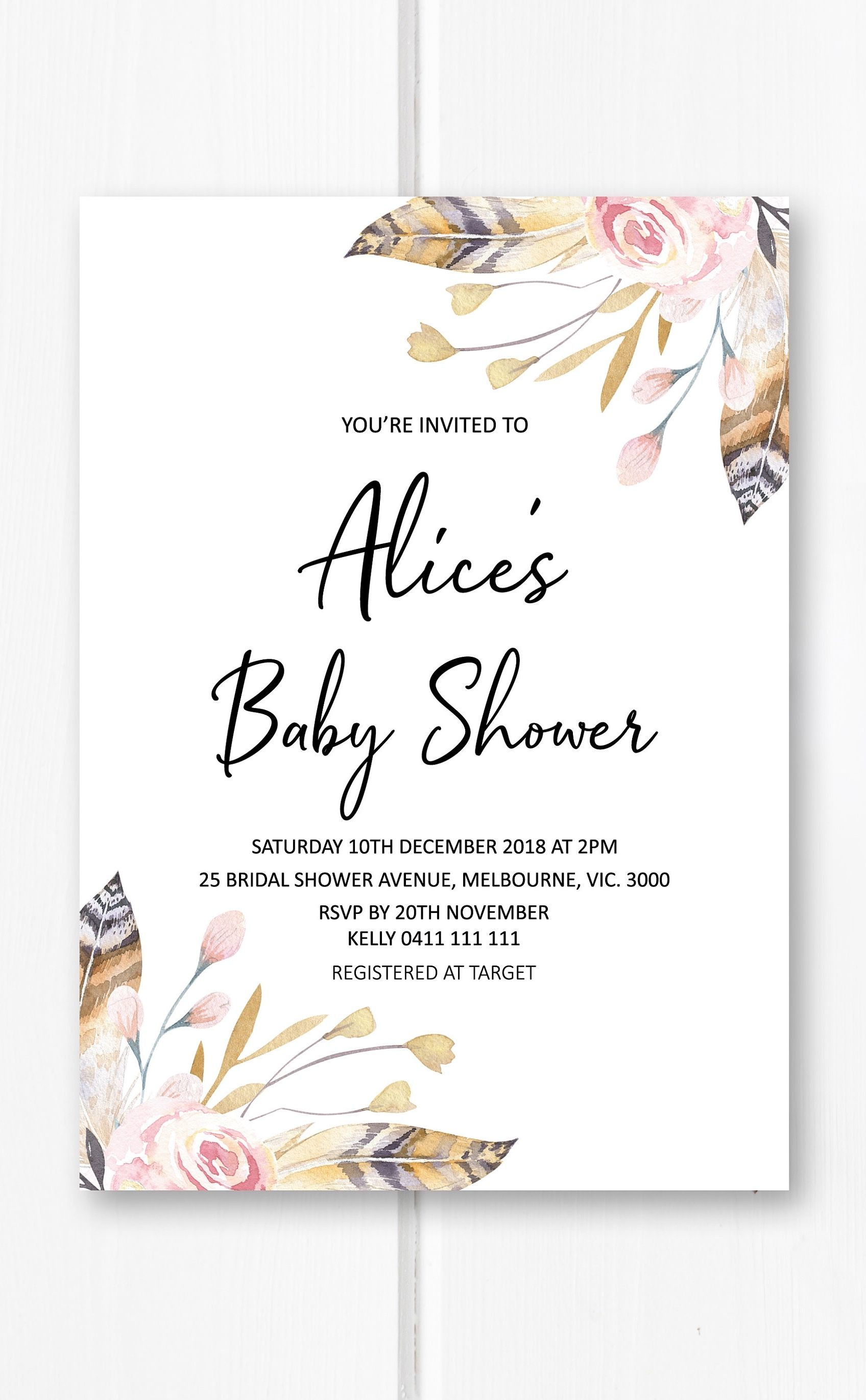 Boho baby shower invitation girl printable baby shower invites pink boho baby shower invitation girl printable baby shower invites pink girl baby shower invitations invite baby girl feather floral bas17 filmwisefo