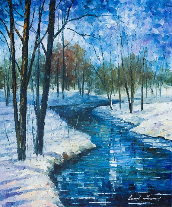 Winter Landscape River Fine Art Painting On Canvas Par Leonid Afremov Frozen Stream Peinture Hiver Peinture Paysage Peinture A L Huile Sur Toile