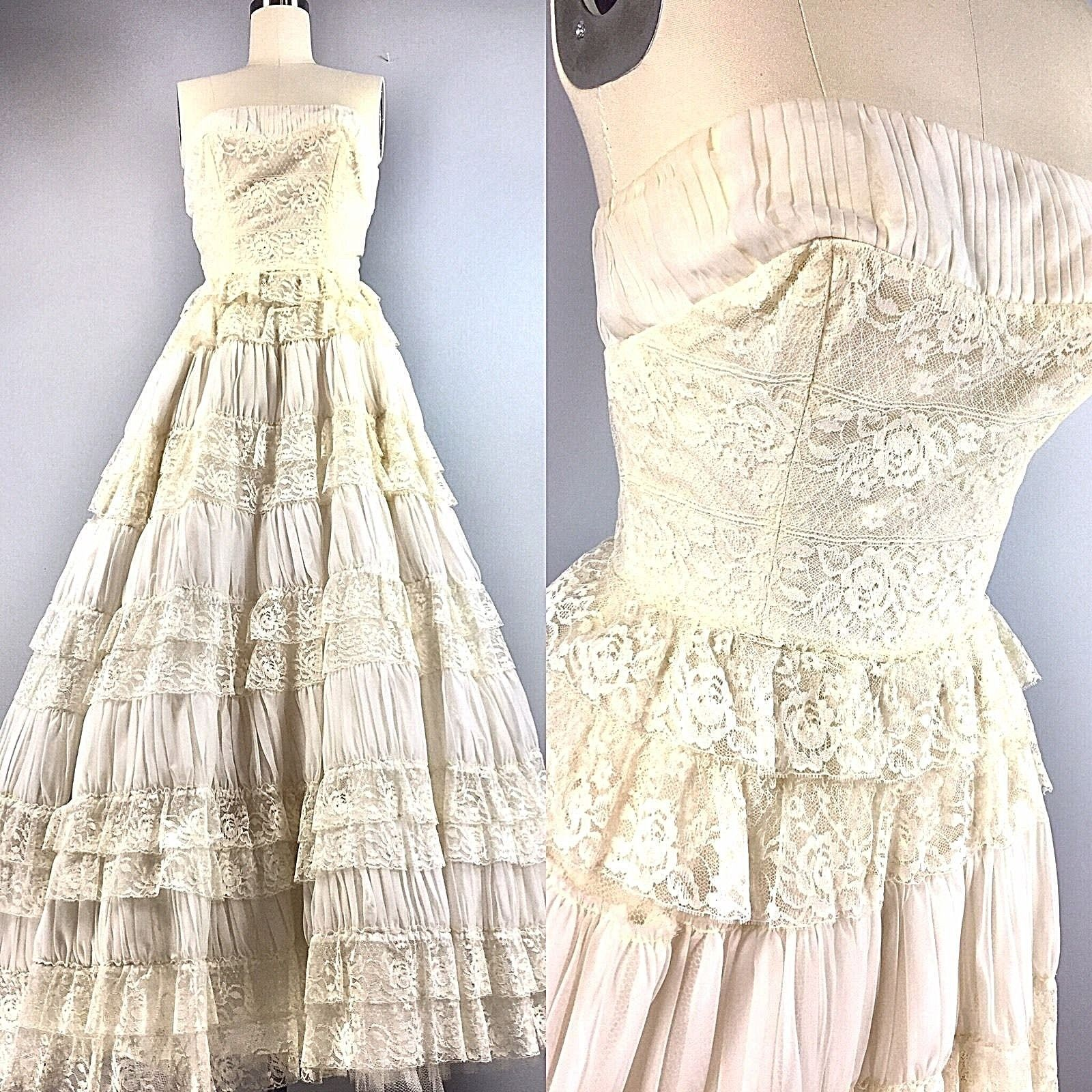 125a776f8e5 Vintage 50s Dress Bridal Wedding Cupcake Ball Gown Lace Ruffles Tiered 32  Bust