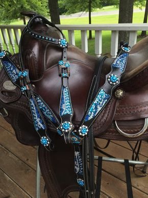 15bdba82bc3a52 Black w Blue & Clear Crystal Bridle Breast Collar Bling Barrel Tack Set