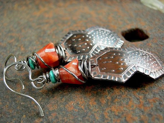 Etched Copper Earrings Metalwork Elksong Jewelry by RoughSoul $39.00
