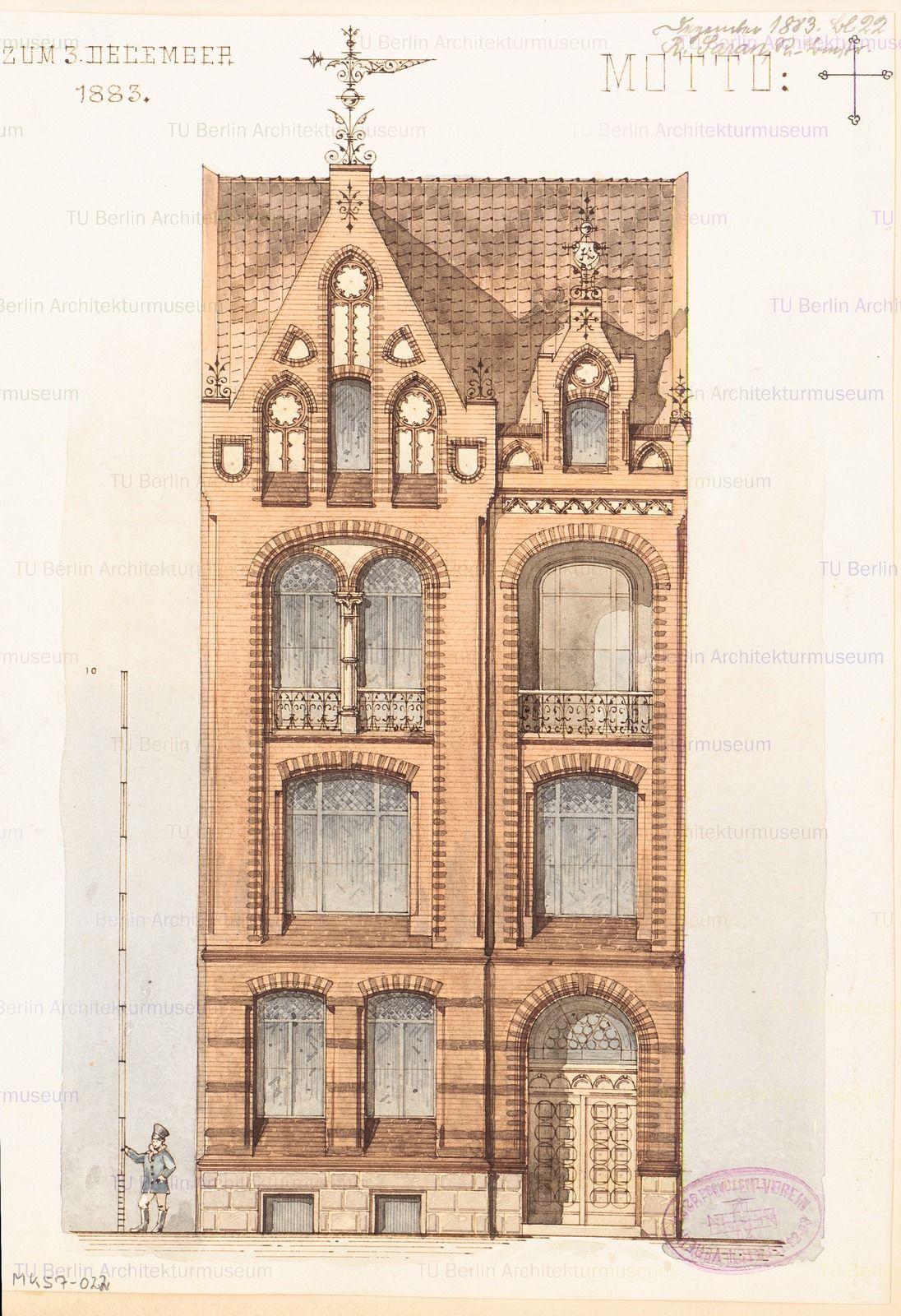 Stadtisches Wohnhaus Monatskonkurrenz Dezember 1883 Architekturzeichnung Alte Architektur Barocke Architektur