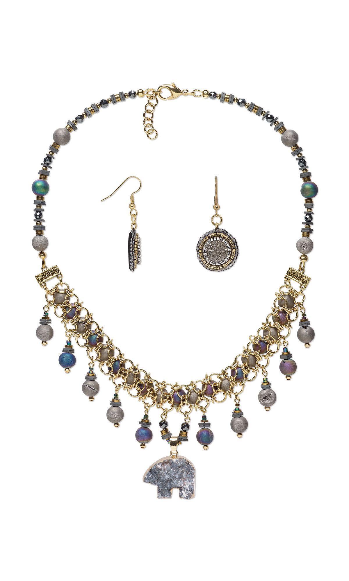Jewelry design singlestrand necklace and earring set with druzy