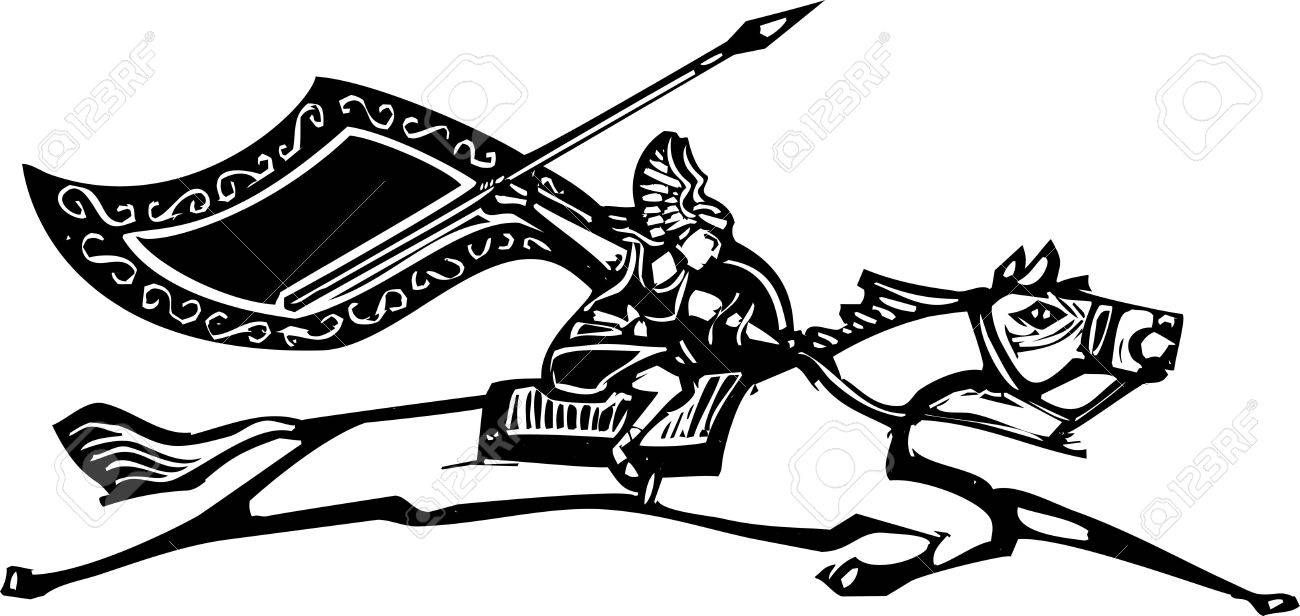 Woodcut style image of a Norse Valkyrie riding a horse waving a spear Stock Vector - 20184017