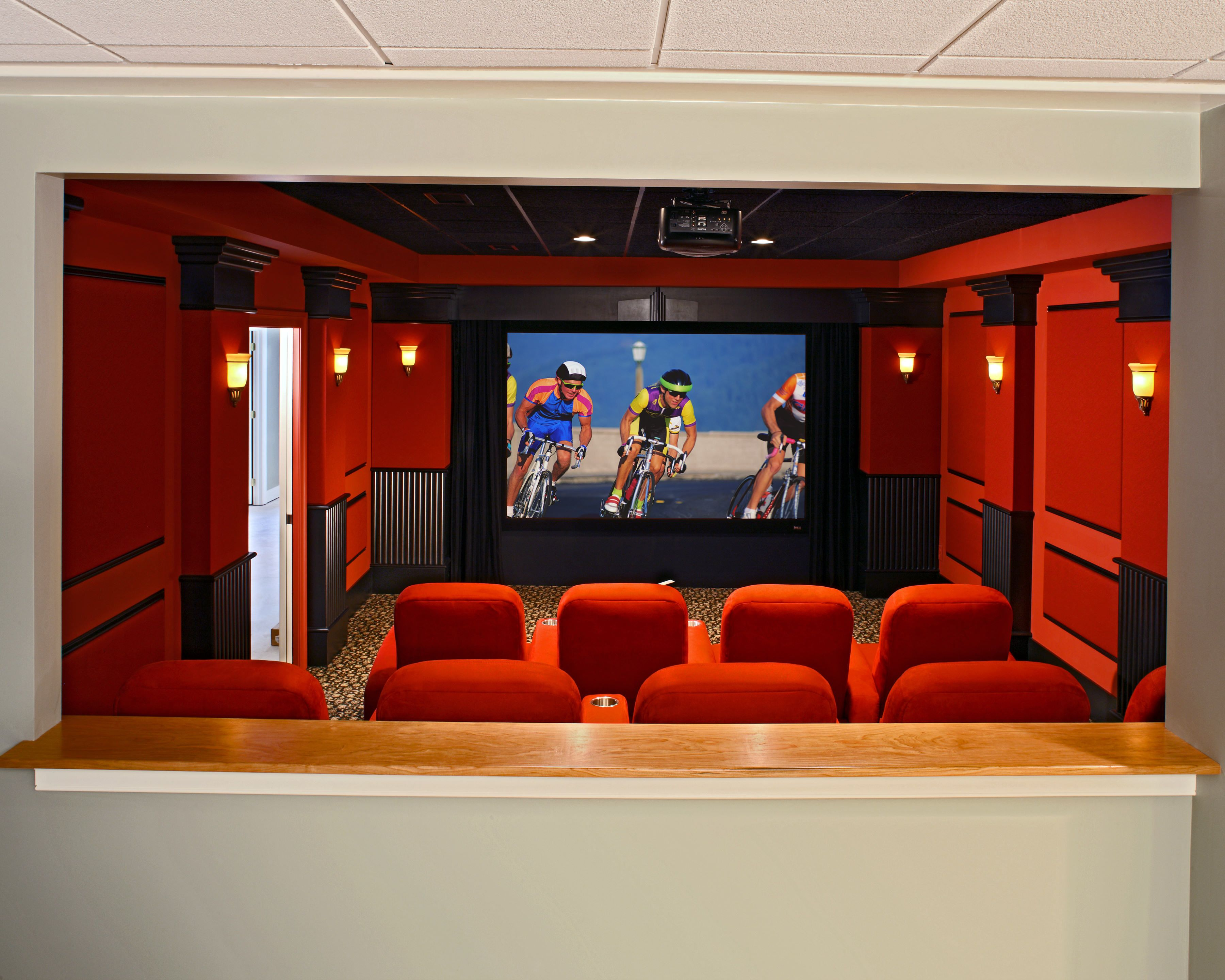 This Is A View Through The Open Back Wall Of The Theater So People. Bar Area  ...