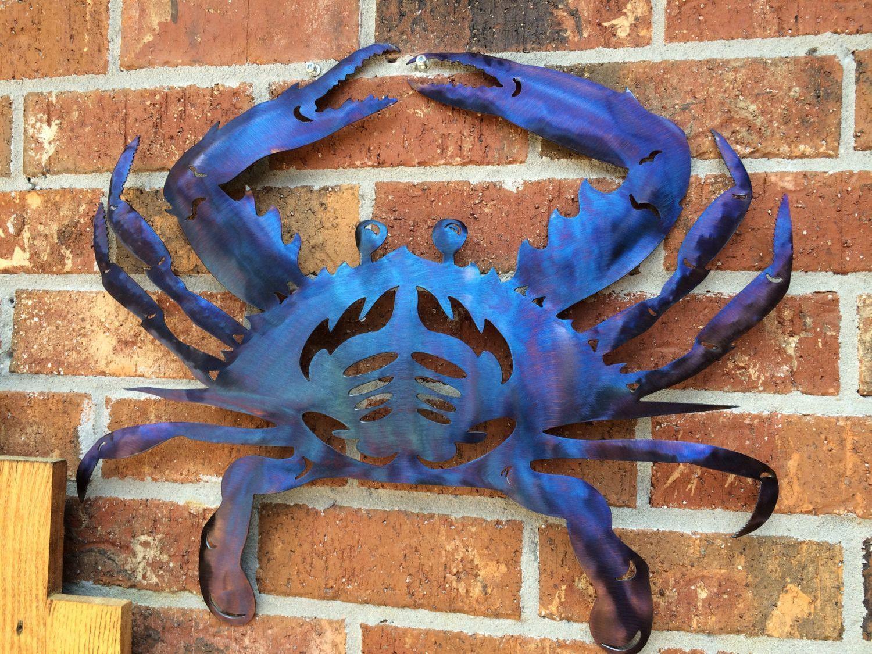 Blue Metal Crab Crabby Crustacean Seafood Steel Wall Art Metal Beach lake Home Coast Coastal Decor