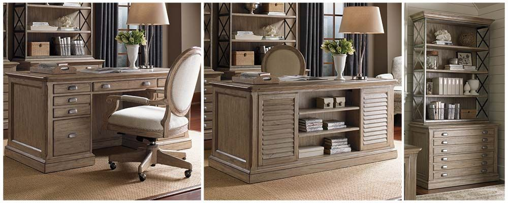 Barton Creek Pedestal Desk & File Cabinet w/ Hutch. #homeoffice #homedecor #interiors #decorating #coastal #coastalhome #homeideas #desk #storage #rustic