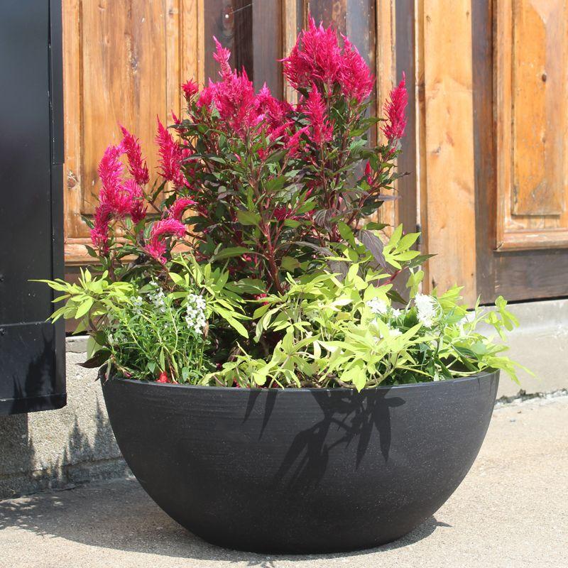 Poly Resin Flat Bottom Bowl Resin Planters Garden Pottery