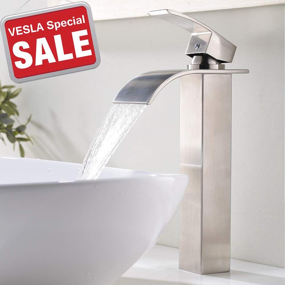 Vesla Home Tall Waterfall Single Handle Brushed Nickel Bathroom Sink Vessel Faucet Lavatory Vanity Sink Faucet With L Vessel Sink Faucet Bathroom Faucets Sink