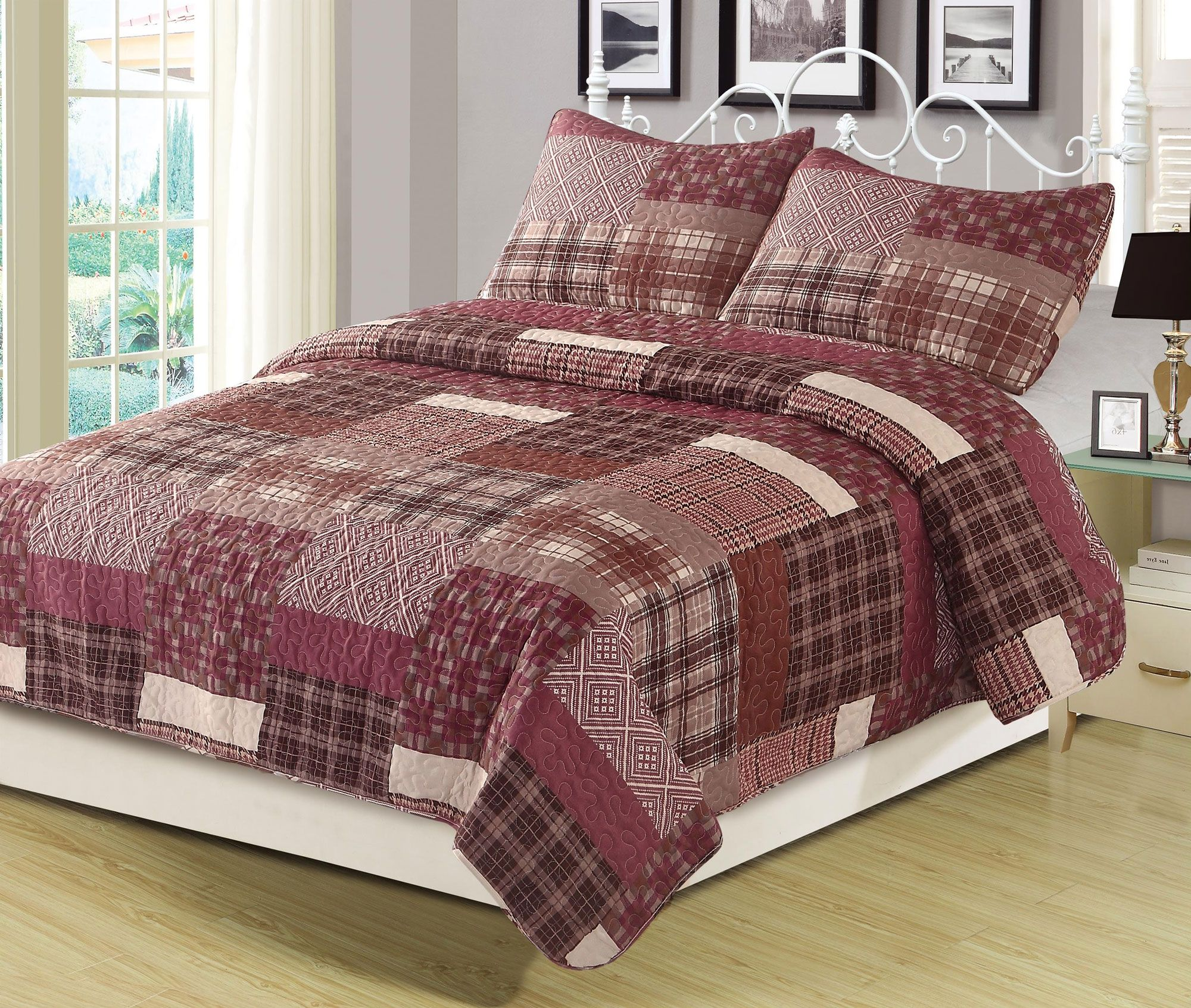 Red Plaid Patchwork 3 Piece Full Queen Quilt And Sham Set Walmart Com Patchwork Bedspread King Quilt Bedding King Quilt