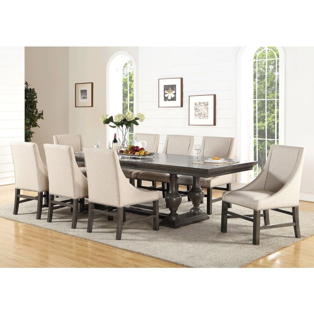 Abbyson Marseilles City Grey 9 Piece Dining Set Size Sets