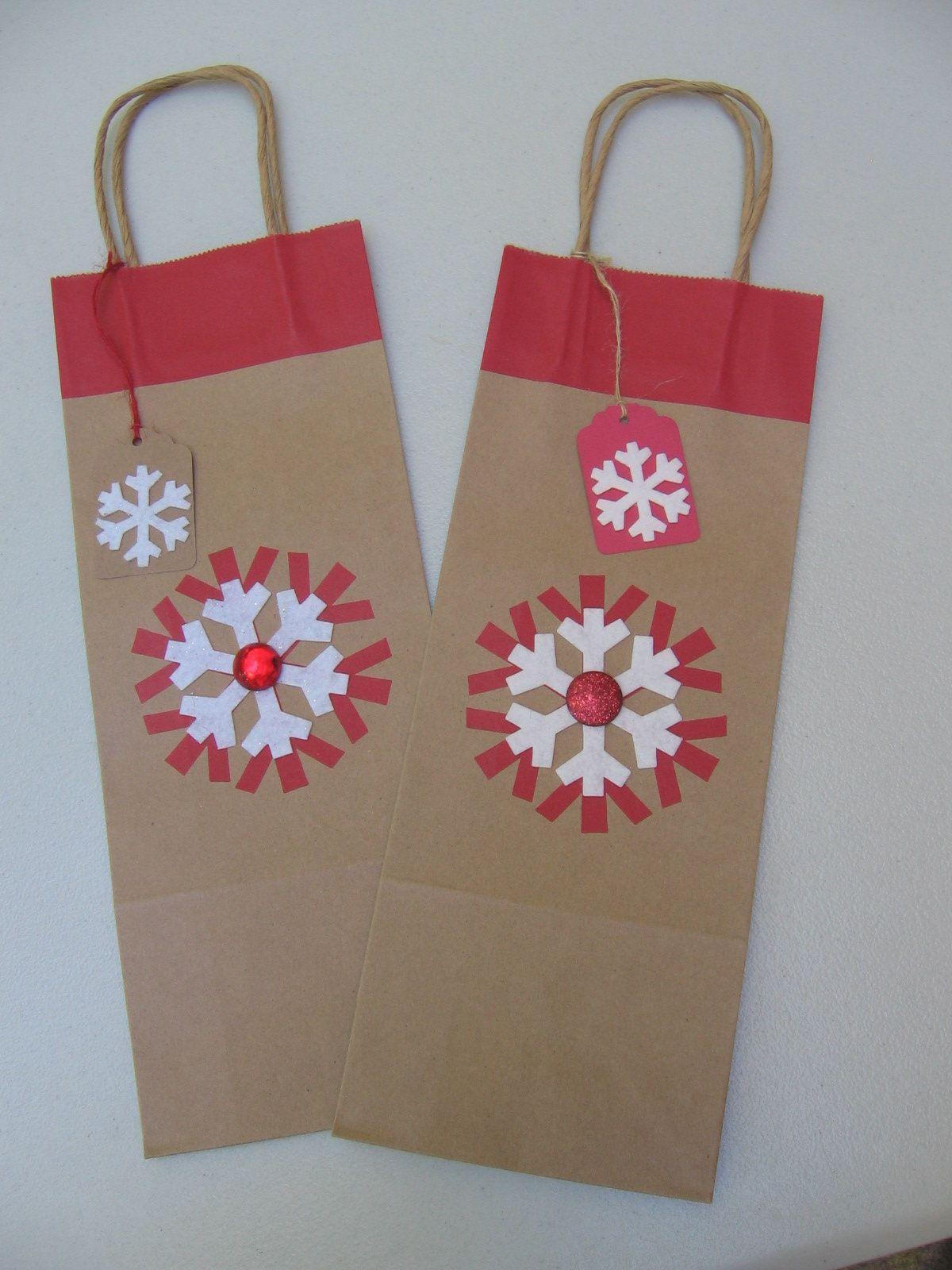 Set Of 2 Christmas Snowflake Bottle Gift Bags Brown And Red Gift Bag Gift Bag With Tag Wine Gift Holder Bag T Bottle Gift Red Gift Christmas Snowflakes