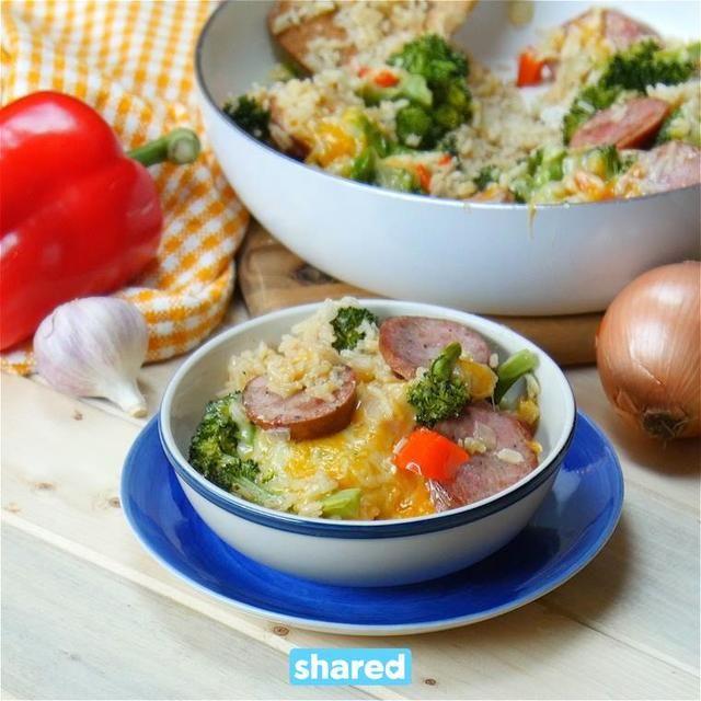 Broccoli Rice And Sausage Dinner Recipe: One Pot Cheesy Kielbasa, Rice & Broccoli