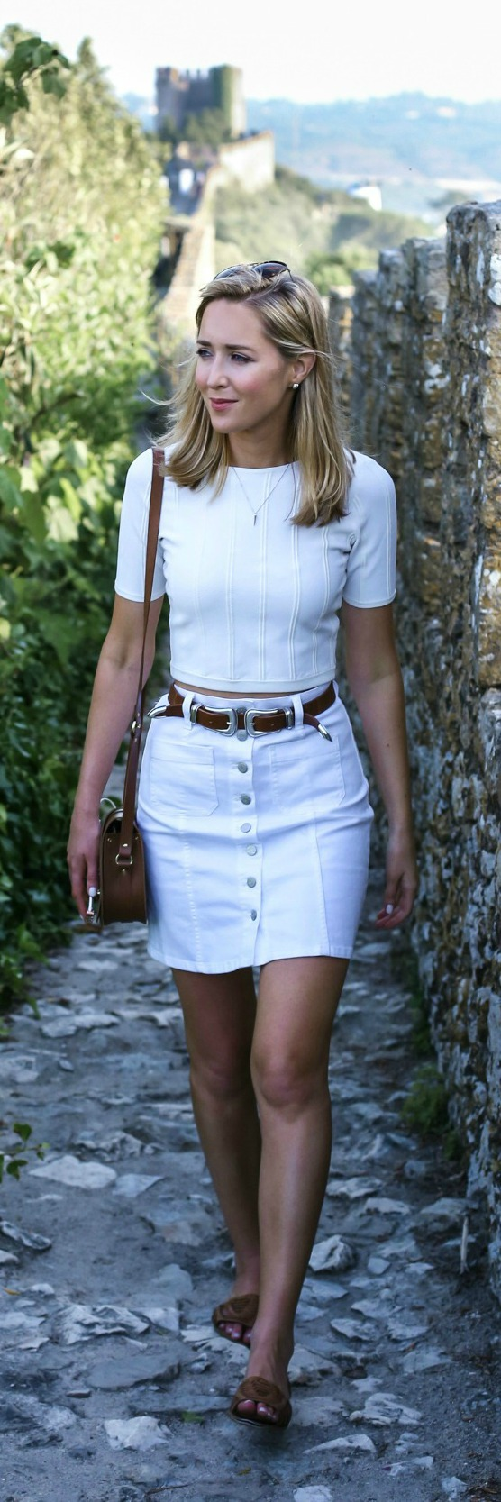 white jean skirt, white sweater crop top, double buckle statement ...