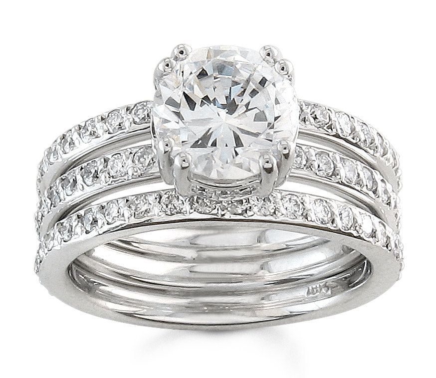 Las Platinum Three Row Band Diamond Engagement Ring 0 85 Ctw G Vs2 Quality With 2 00ct Natural White Shire Center