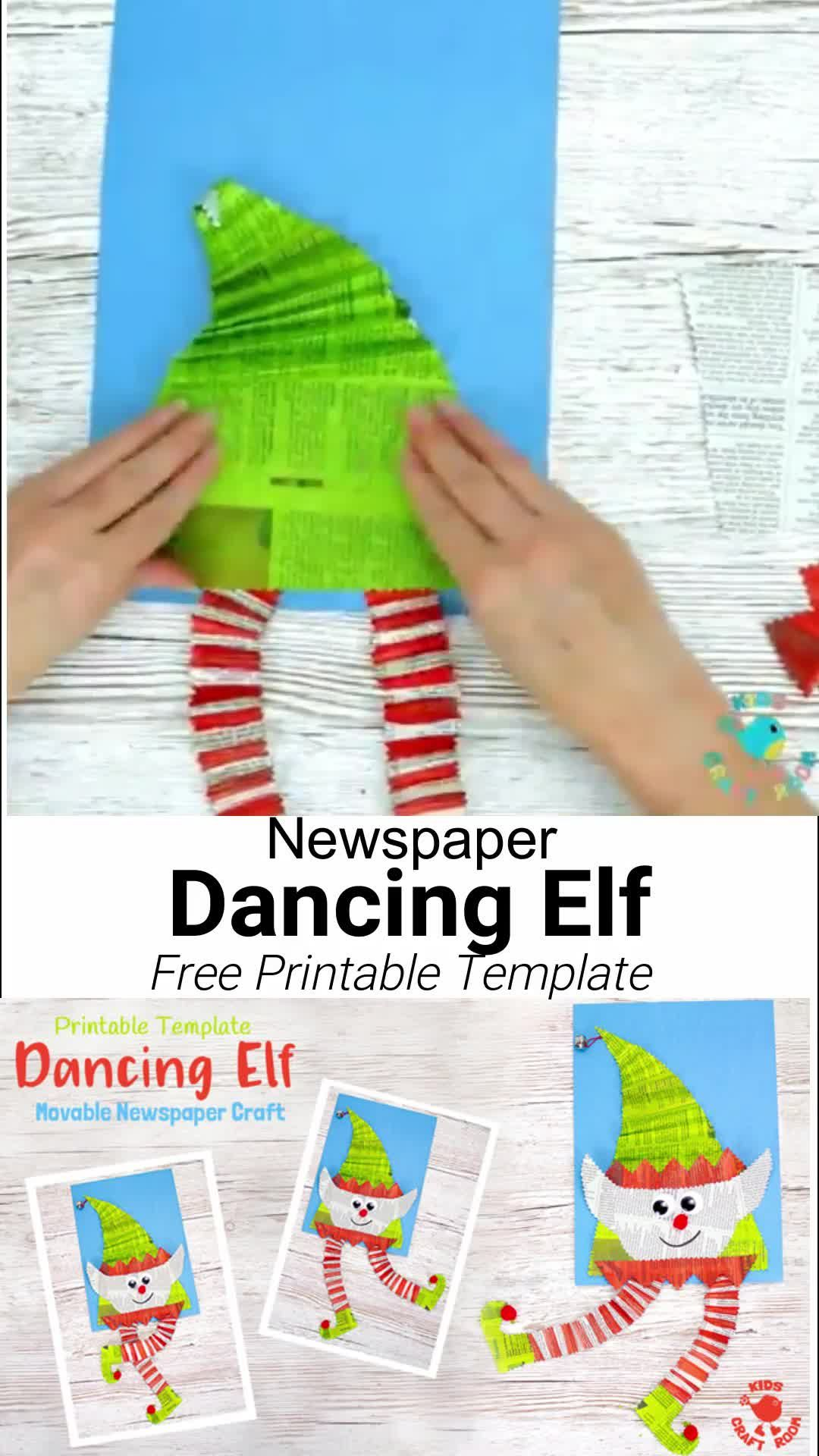 DANCING ELF CRAFT - An adorable interactive Christmas elf craft kids will love. This Christmas craft for kids is super easy to make with the free printable template and old newspaper. Wiggle the elf's body to watch his legs dance around! Such a fun recycled craft. #kidscraftroom #christmascrafts #christmascraftsforkids #kidscrafts #kidsactivities #newspapercrafts #recycledcrafts  #kidscrafts #printable #freeprintables #printablecrafts #elf #elfcrafts #elfart #christmas