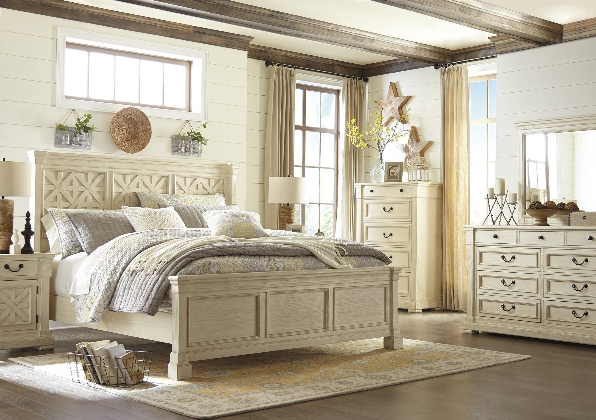 Best Ashley Bolanburg 4Pc Bedroom Set E King Panel Bed Dresser 400 x 300
