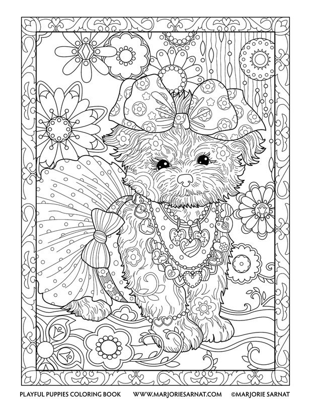 Hair Bow Pup Playful Puppies Coloring Book By Marjorie