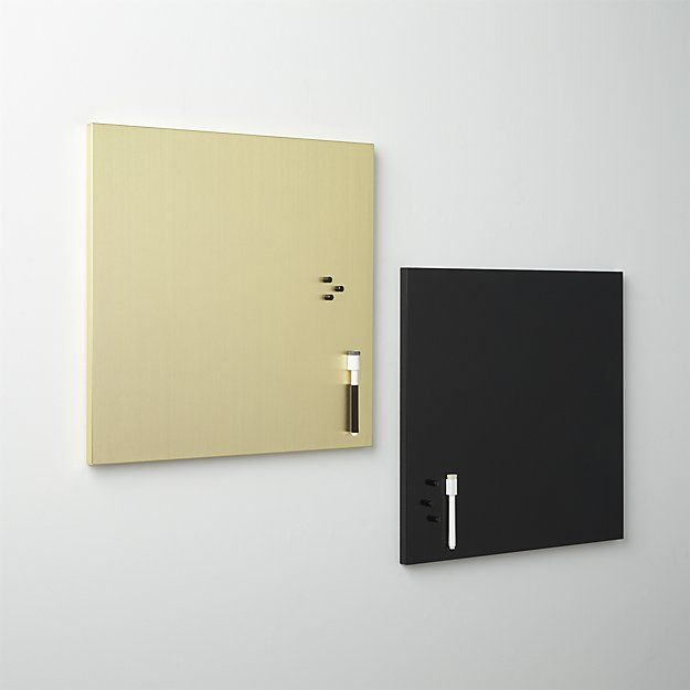 Shop brushed gold magnetic-dry erase board.   Glamorous gilded iron square marks to-dos then resets to a clean slate.  Magnetic surface lets you post photos and notes to create an inspiration/organization station.