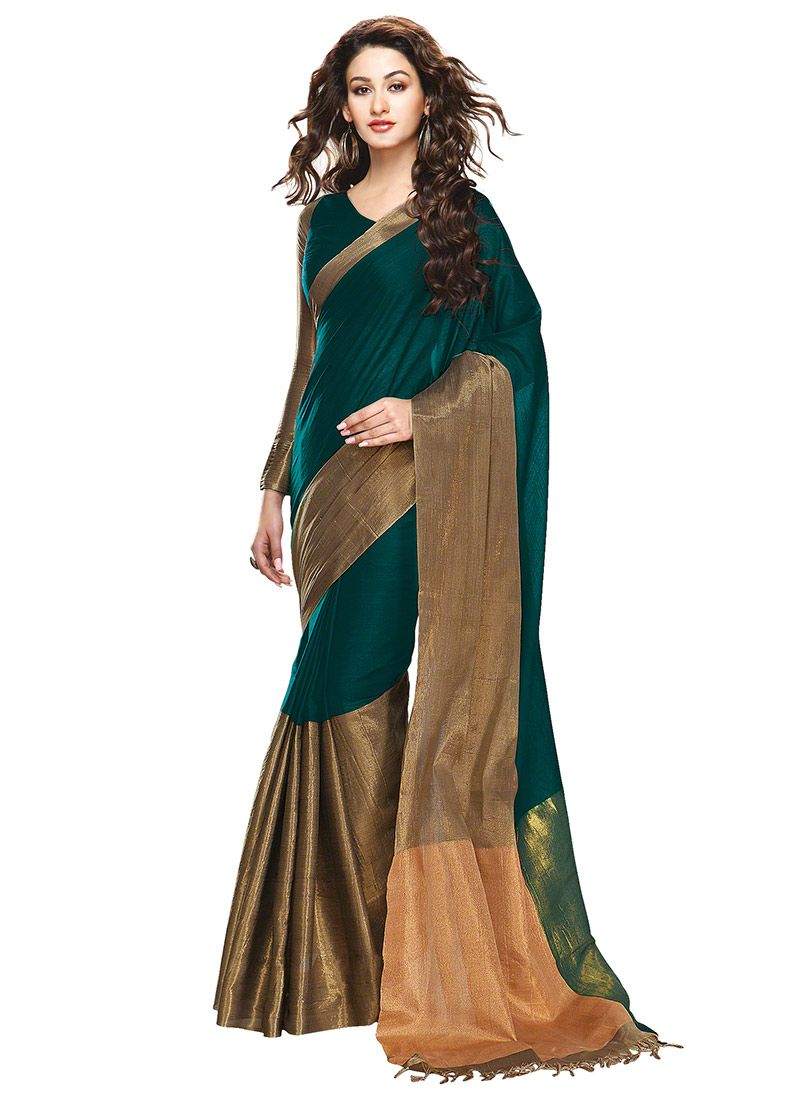 c7a7b0c3f4 Dark Green N Dark Gold Border Saree Saree Styles, Printed Sarees, Cotton  Silk,