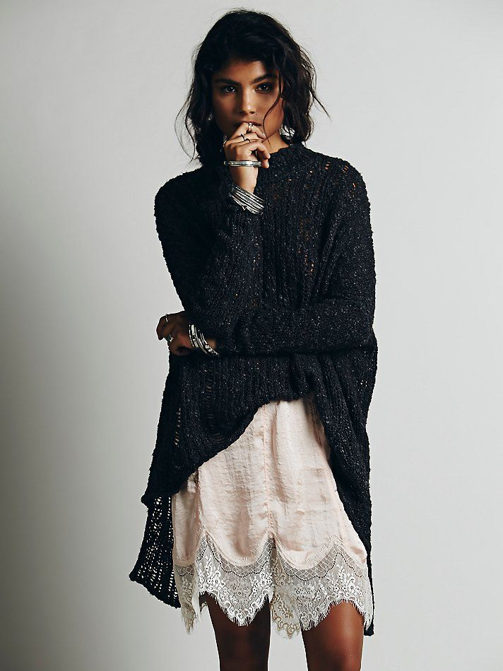 Free People Ladder Stitch Pullover, $128.00 Love the combo of Hi-Lo Sweater with a Lacy Slip. Add some cute tights and Boots and it's the perfect winter outfit.