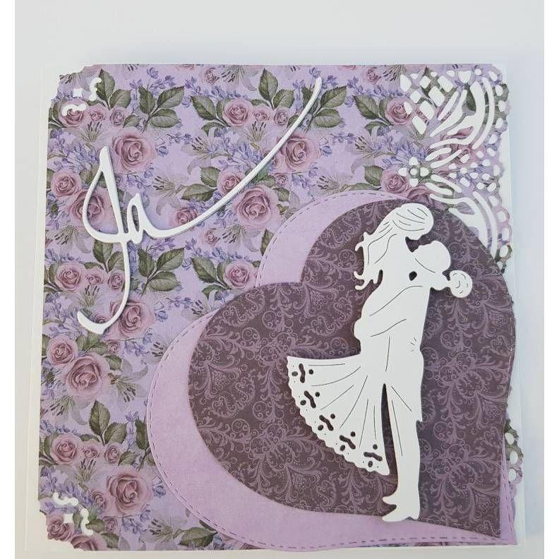 Hochzeitskarte Grußkarte VERMÄHLUNG weiß lila lavendel Herz handmade aus hessen