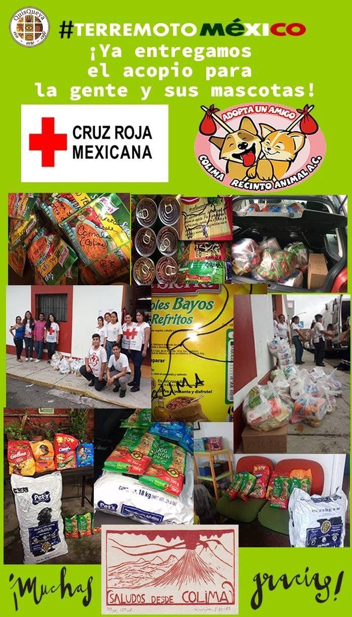 """¡Ya entregamos el acopio para la gente y sus mascotas!  Muchas gracias a quienes generosamente colaboraron. Y desde luego a la """"Cruz Roja Mexicana"""" y a """"Adopta un amigo"""". ¡Saludos desde Colima!"""