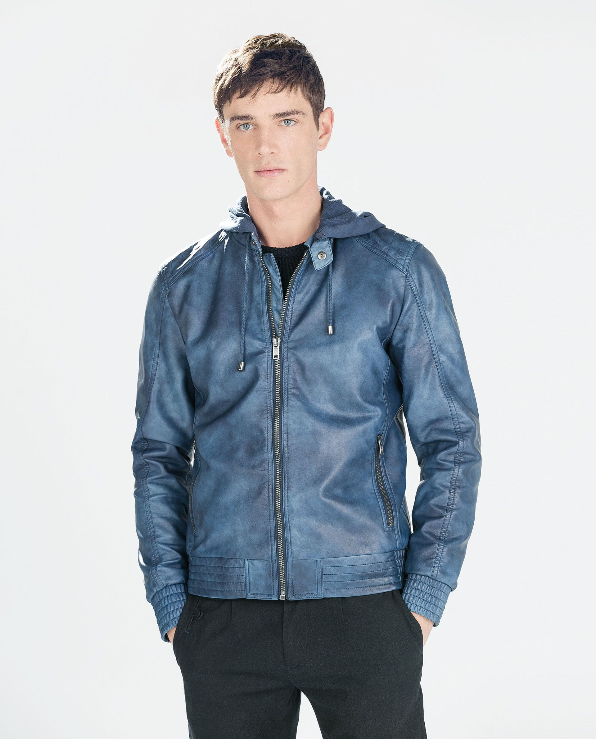 Blue Leather Jacket With Hood PEnnZq Leather jacket with