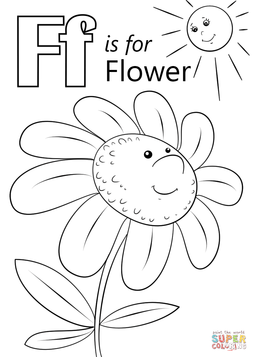 Letter f is for flower coloring page free printable pages with