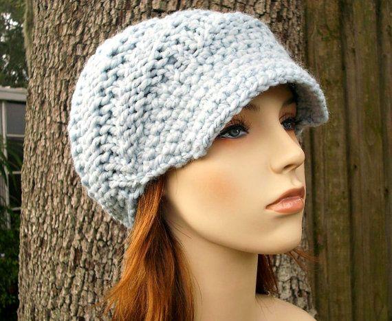 bbde39561fff3b Blue Newsboy Hat Chunky Knit Hat Womens Hat - Swirl Beanie with ...