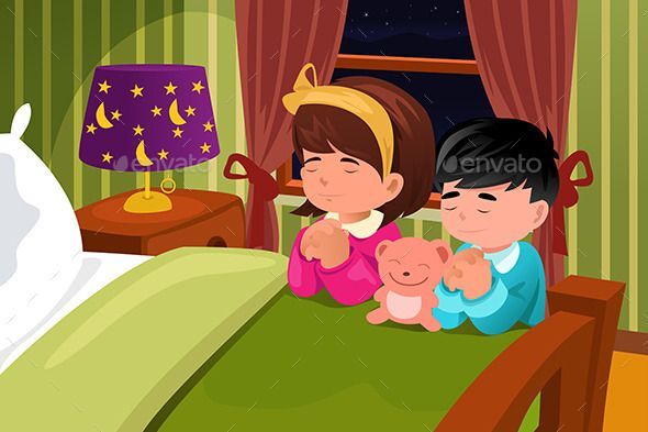 Kids Praying Before Going To Bed Kids Bedtime Kids Vector