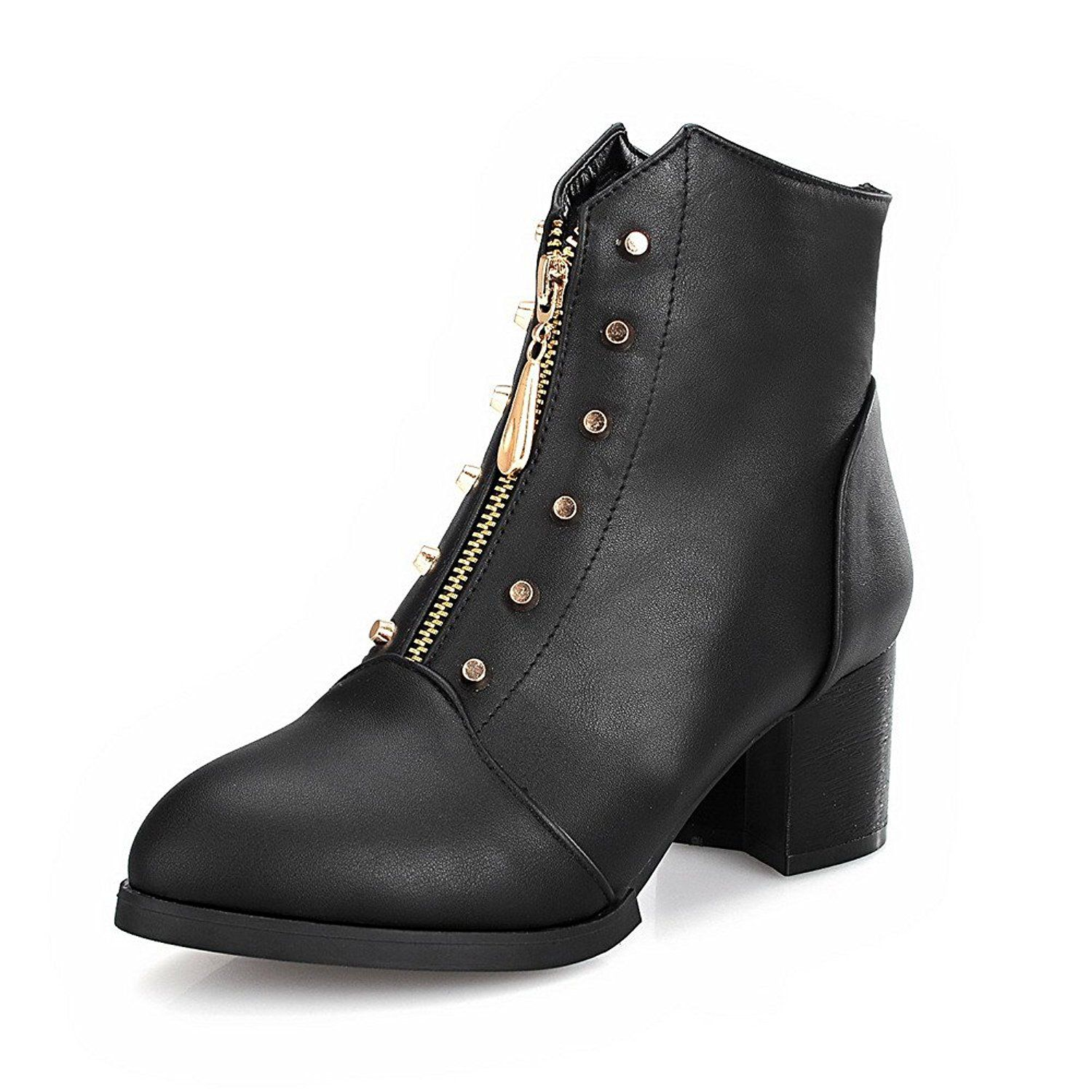 Women's Zipper Kitten-Heels PU Solid Low-Top Boots