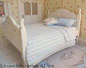 Shabby chic french double bed - 1/12 dolls house dollhouse miniature