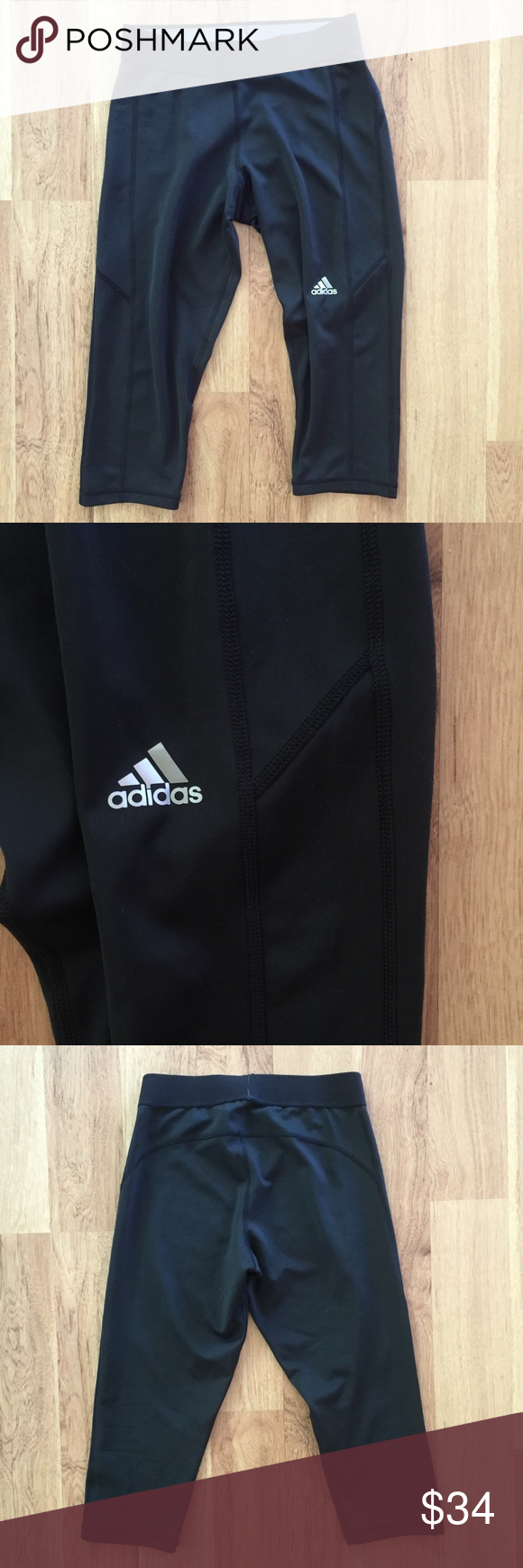 Black Adidas crop leggings and compression pants Good condition, as seen in pictures! Fast same or next day shipping! Open to offers but I don't negotiate in the comments so please use the offer button Adidas Pants Leggings