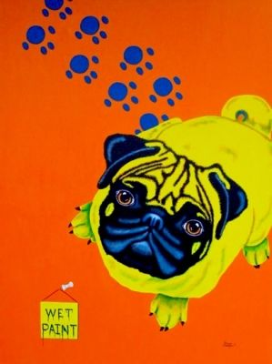 Wet Paint - Pug Pop Painting, painting by Tanya & Craig Amberson