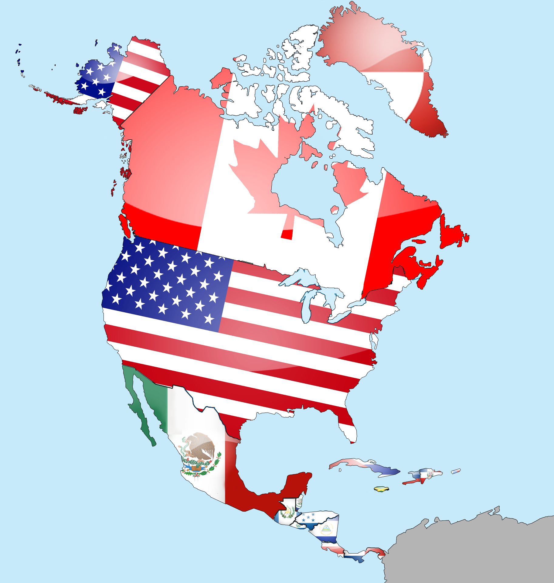 North America Flag Map Geography And Homeschool - Us flag map