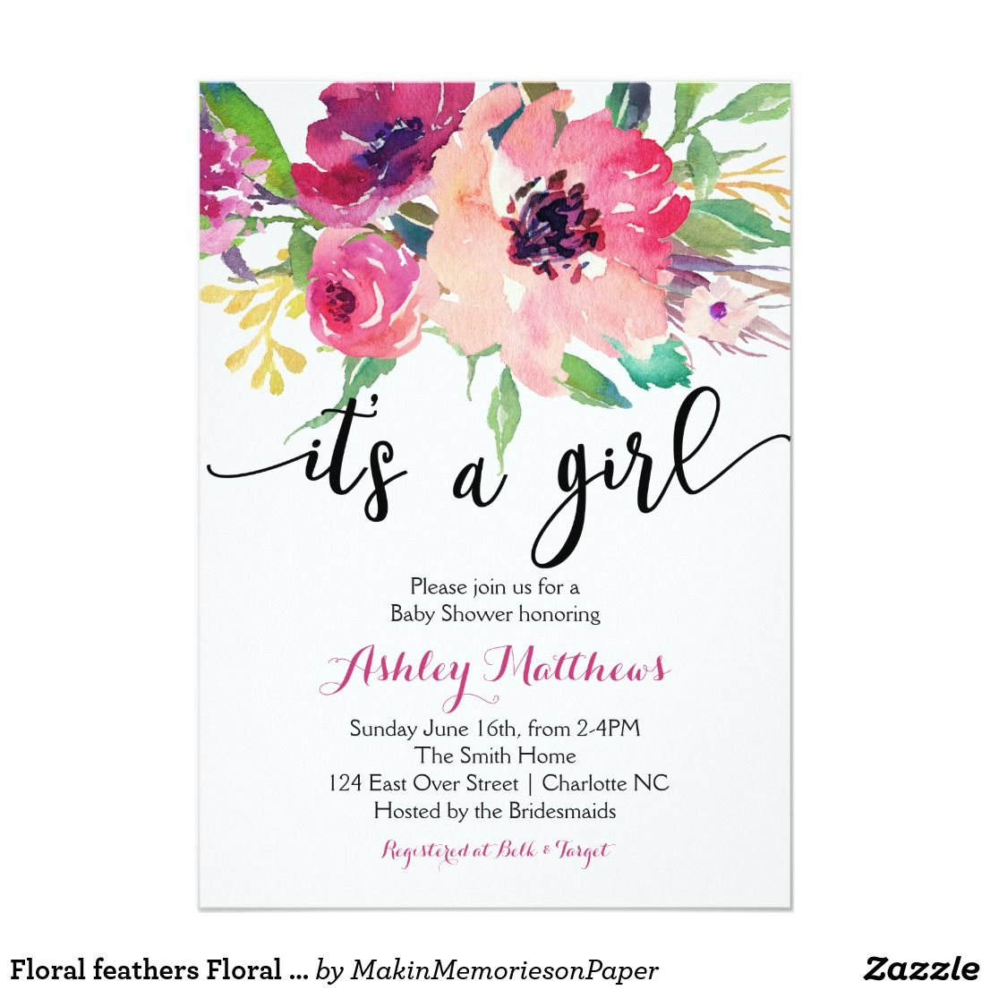 Floral feathers Floral Baby Shower Invitation | Watercolor Clipart ...