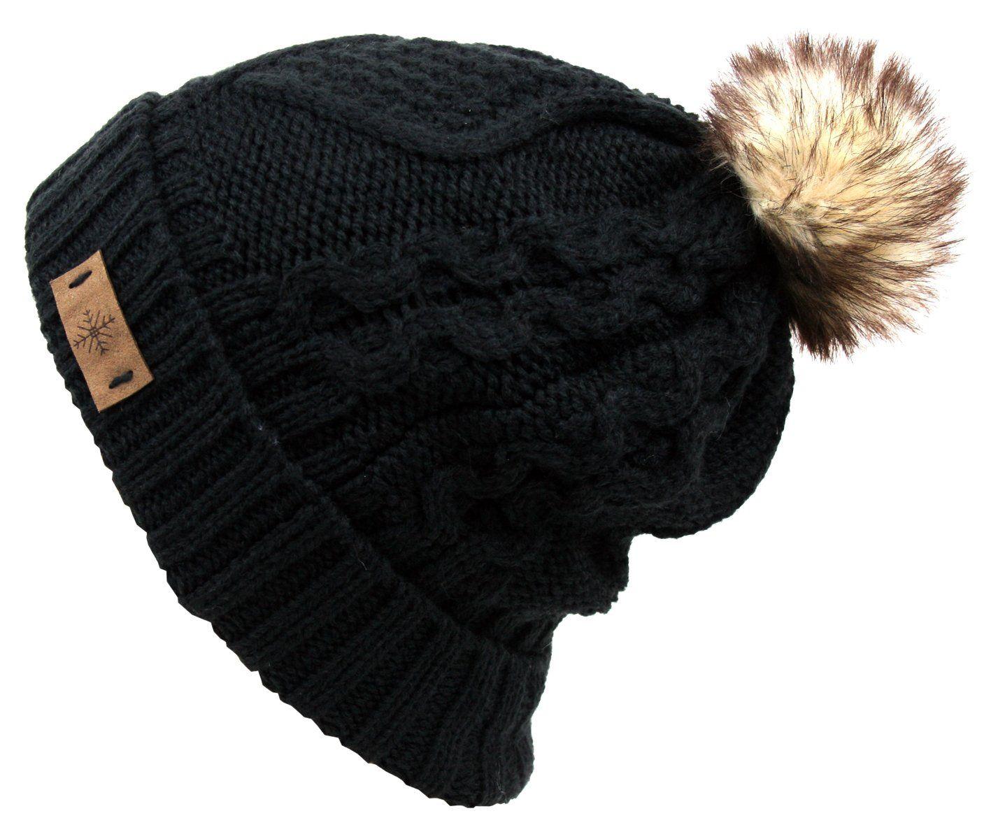 bfc80e975c4 Amazon.com  Women s Fur Pompom Fleece Lined Knitted Slouchy Beanie Hat  (BLACK)  Clothing
