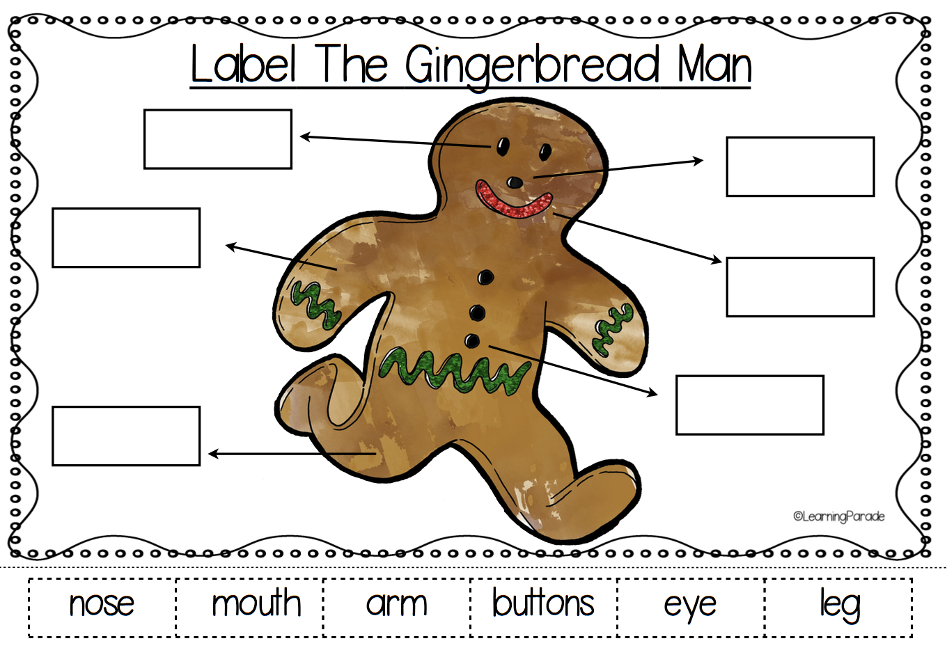 Label The Gingerbread Man Lots Of Fun Festive Literacy