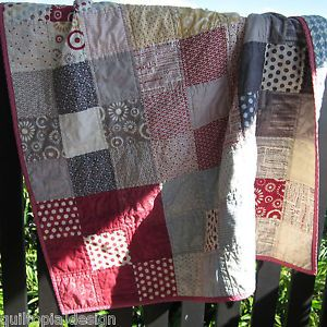Handmade Quilts | Details about Handmade Modern Patchwork Quilt Baby/Lap Fabric Squares ...