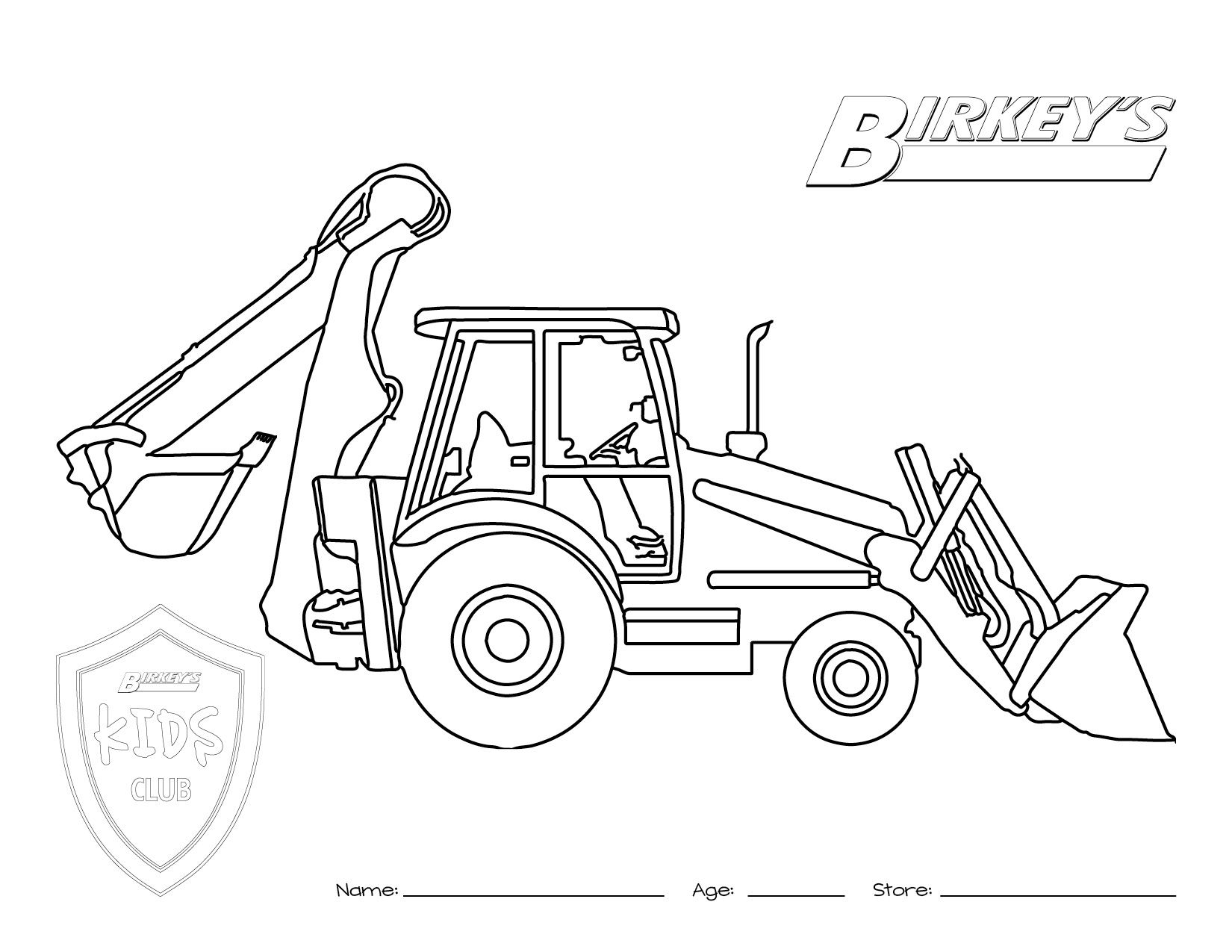 Tractor Backhoe Coloring Page  Tractor coloring pages, Truck