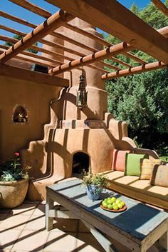 Outdoor Kiva Fireplace Courtyards Google Search Southwestern Home New Mexico Homes House With Porch