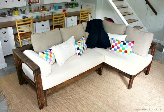 Ana White Kids Couch 2x4 Diy Sectional With Crib Mattress Cushions Projects