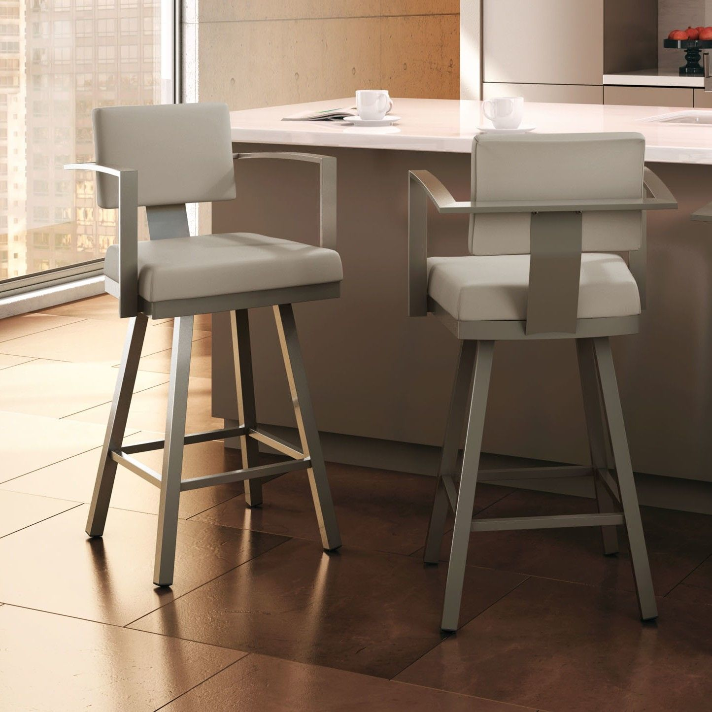 Amisco Akers Swivel Counter Stool with Arms 26 in. - Create a modern metropolitan atmosphere in your home with the Amisco Akers Swivel Counter Stool with ... & Isaac Swivel Bar u0026 Counter Stool | Bar counter Counter stool and ... islam-shia.org